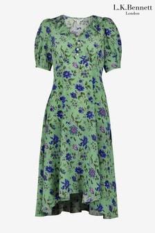 L.K.Bennett x Royal Ascot Pami Green Silk Dress