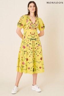 Monsoon Yellow Delia Embroidered Tea Dress