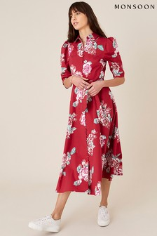 Monsoon Red Robyn Rose Floral Shirt Dress