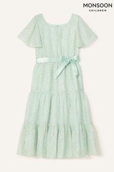 Monsoon Green Foil Print Tiered Dress