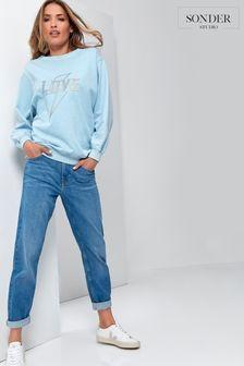 Sonder Studio Blue Mid Wash Girlfriend Jeans