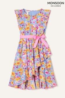 Monsoon Blue Floral Print Frill Skirt Dress
