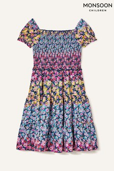 Monsoon Blue Ditsy Floral Tiered Dress
