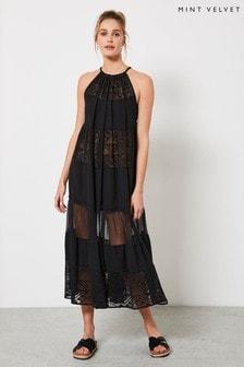 Mint Velvet Black Tiered Beach Midi Dress