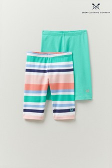 Crew Clothing Company Plain/Stripe Cropped Leggings 2 Pack