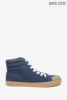 White Stuff Navy Canvas High Top Trainers