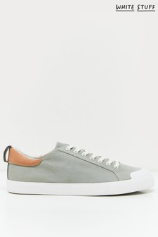 White Stuff Green Canvas Lace-Up Trainers