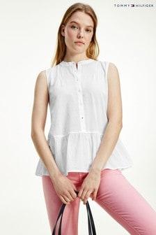 Tommy Hilfiger White Cotton Peplum Shirt