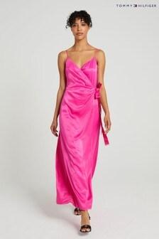 Tommy Hilfiger Pink Satin Wrap Dress