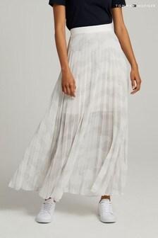 Tommy Hilfiger White Icon Chiffon Pleated Long Skirt