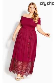 City Chic Red Crochet Hem Maxi Dress