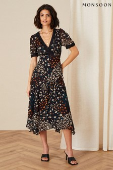 Monsoon Black Fia Feather Print Hanky Hem Dress