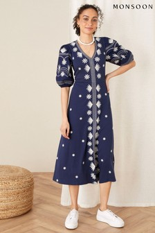 Monsoon Blue Emma Embroidered Jersey Dress