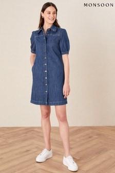 Monsoon Blue Ruffle Collar Denim Dress