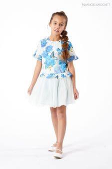 Angel & Rocket Print Bubble Crepe Tutu Dress