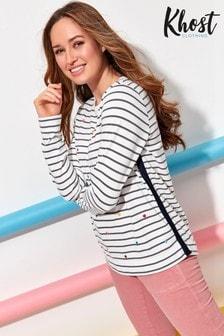 Khost Cream Stripe Spot Embroidered Top