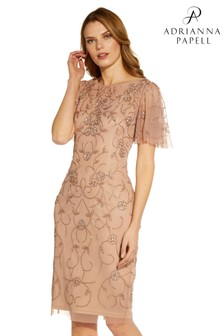 Adrianna Papell Gold Beaded Mesh Sheath Dress