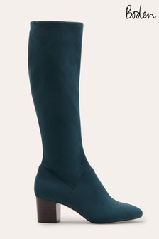 Boden Green Round Toe Stretch Boots