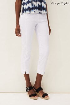 Phase Eight White Halle Crop Trousers
