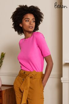 Boden Pink Cotton Crew Knitted Top