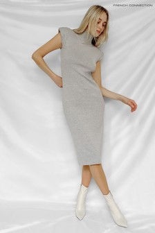 French Connection Grey Fitted Shoulder Pad Dress