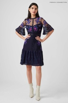 French Connection Blue Bina Embroidered Dress