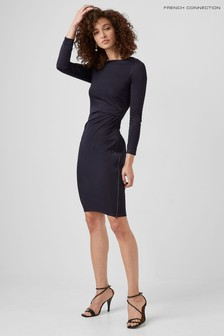 French Connection Blue Sonike Bamboo Jersey Dress