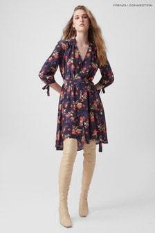 French Connection Blue Ella Rose Drape Shirt Dress
