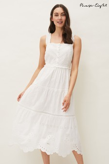 Phase Eight White Ellie Broderie Midi Dress