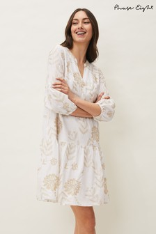 Phase Eight White Gina Embroidered Dress