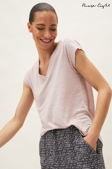 Phase Eight Pink Emera V-Neck Linen Top