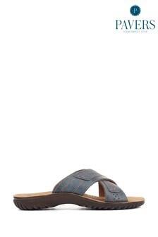 Pavers Mens Blue Casual Mule Sandals