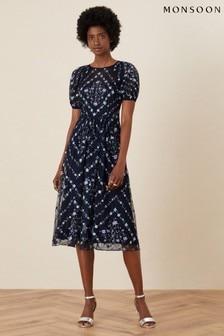 Monsoon Blue Hele Floral Embroidered Midi Dress