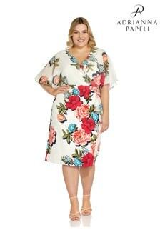 Adrianna Papell Plus White Chiffon Twill Combo Dress