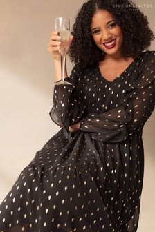 Live Unlimited Curve Black and Gold Doddy Tiered Dress