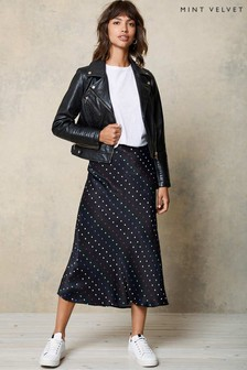 Mint Velvet Natural Willa Spot Slip Midi Skirt