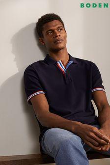 Boden Blue Piqué Polo Shirt