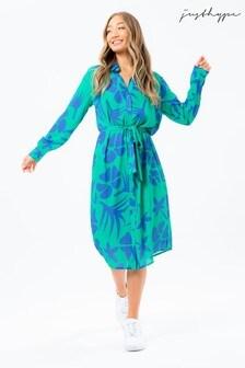 Hype. Women's Green Teal Leaf Shirt Dress