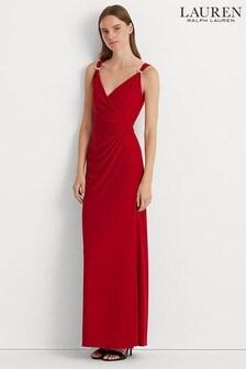 Lauren Ralph Lauren Red Maris Long Evening Dress