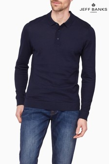 Jeff Banks Blue L/S Knitted Polo Shirt