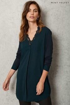 Mint Velvet Green Lace Long V-Neck Blouse