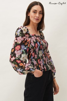 Phase Eight Pink Esty Floral Square Neck Blouse