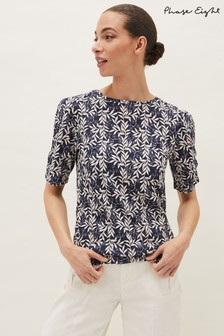 Phase Eight Blue Poppie Leaf Print Top