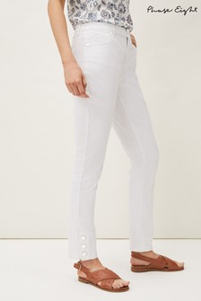 Phase Eight White Bobbie Skinny Button Hem Jeans