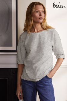 Boden Blue The Cotton Boxy Boat Neck Tee