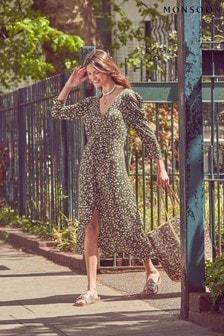 Monsoon Green Animal Print Jersey Midi Dress