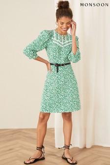 Monsoon Green Mona Ditsy Floral Jersey Dress