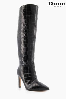 Dune London Black Spice Pointed Stiletto Knee High Heeled Boots