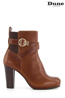 Dune London Brown Oreana Elasticated Buckle Detail Boots