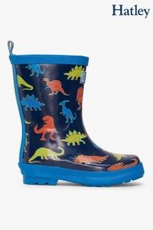 Hatley Blue Linework Dinos Shiny Rain Boots